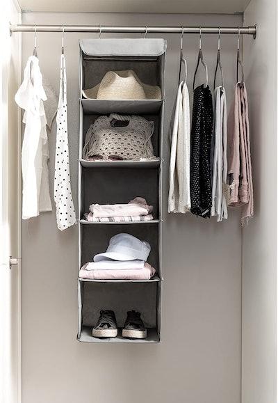 Zober 5 Shelf Hanging Closet Organizer Space Saver