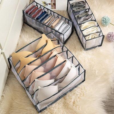 HUAJUHUI L&Z Grid Underwear Storage Collapsible Box