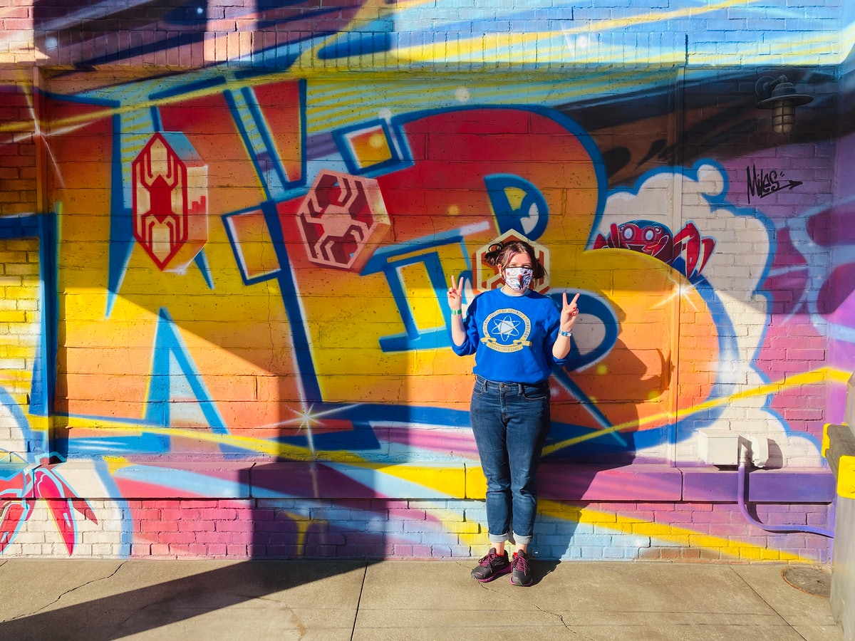 The graffiti walls at Avengers Campus are an Easter egg to the movie 'Spider-Man: Into The Spider-Verse' at Disneyland.