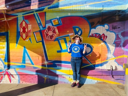 The graffiti walls at Avengers Campus are an Easter egg to the movie 'Spider-Man: Into The Spider-Ve...