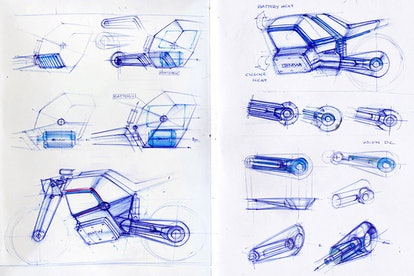 A designer created a concept electric BMW racing bike. E-bike. Electric motorcycle. Electric bicycle.