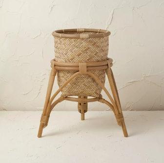 "13.5"" x 15.5"" Rattan Woven Planter Basket Natural"