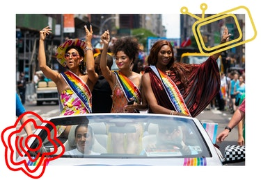 Mj Rodriguez, Indya Moore, and Dominique Jackson at the WorldPride NYC 2019 March in New York City.