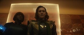 Wunmi Mosaku and Tom Hiddleston in Loki Episode 1