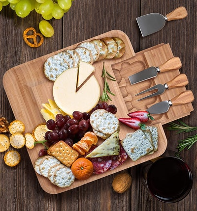 CAVEPOP Bamboo Cheese Board and Knife Set
