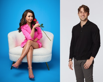 Katie Thurston in a pink suit holding a rose and Greg Grippo on Season 17 of 'The Bachelorette' on A...