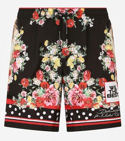 Dolce & Gabbana mid-length swim trunks with lion mix print