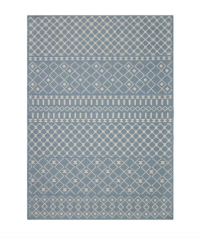 5' X 7' Blue Tribal Striped Outdoor Rug