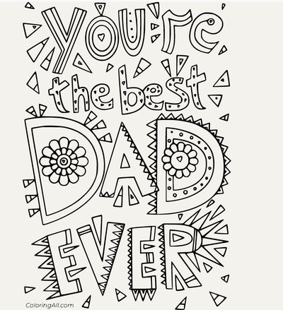 You Are the Best Dad Ever Coloring Page