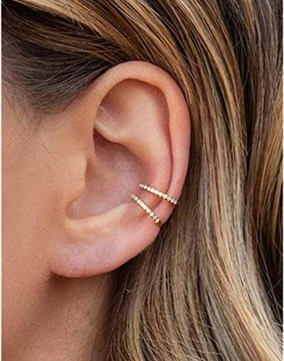 LDKRZ Cubic Zirconia Fake Hoop Earrings