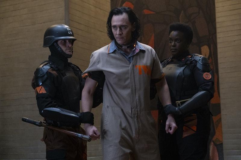 Tom Hiddleston as Loki at the TVA in 'Loki,' via Disney+ press site.