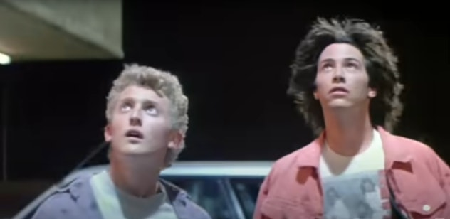 'Bill and Ted's Excellent Adventure' is a science fiction family movie starring Keanu Reeves and Ale...