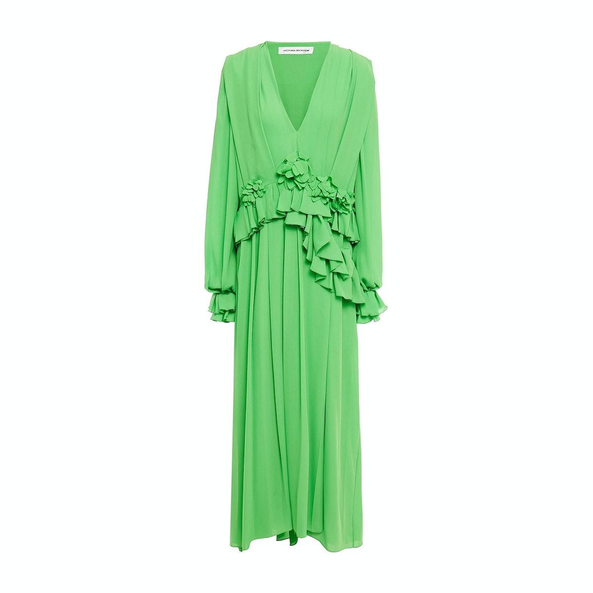 Victoria Beckham Floral-Appliquéd Pleated Georgette Maxi Dress