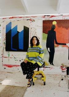 Portrait of Clare Rojas in her studio
