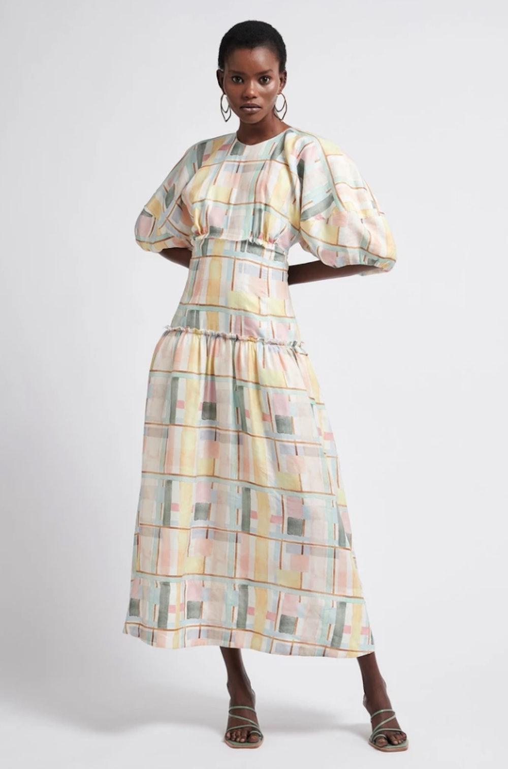 L'Espirit Printed Cut-Out Midi Dress