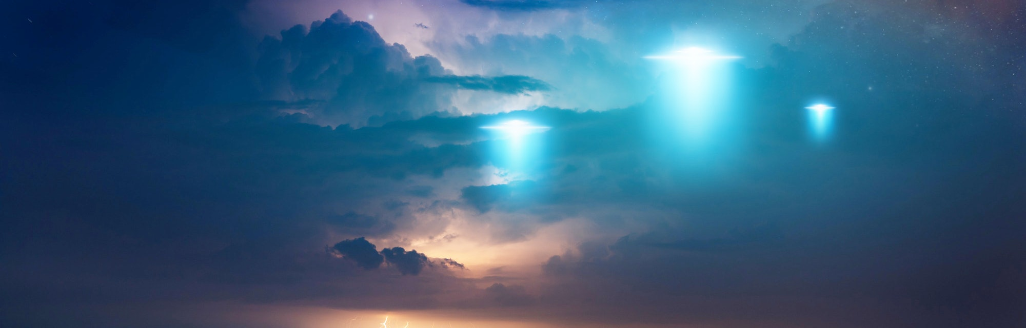 dark skies with lightning that looks like ufos