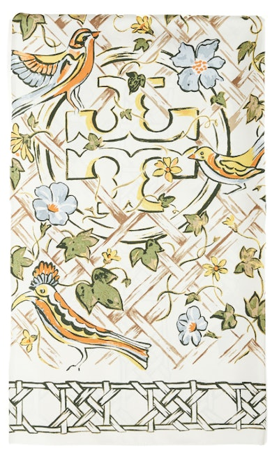 Painted Caning With Birds Silk Square Scarf