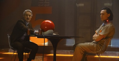 Mobius and Loki watch Loki's actions in the films in 'Loki,' via Disney+ press site.
