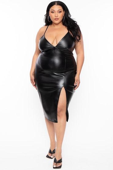 Plus Size Lorraine Faux Leather Cami Dress