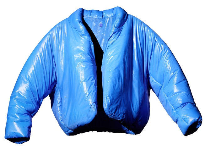 Yeezy Gap's first product release, a round jacket made from recycled nylon.