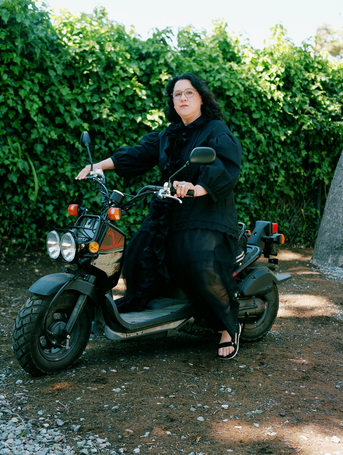 clare rojas on a motorcycle