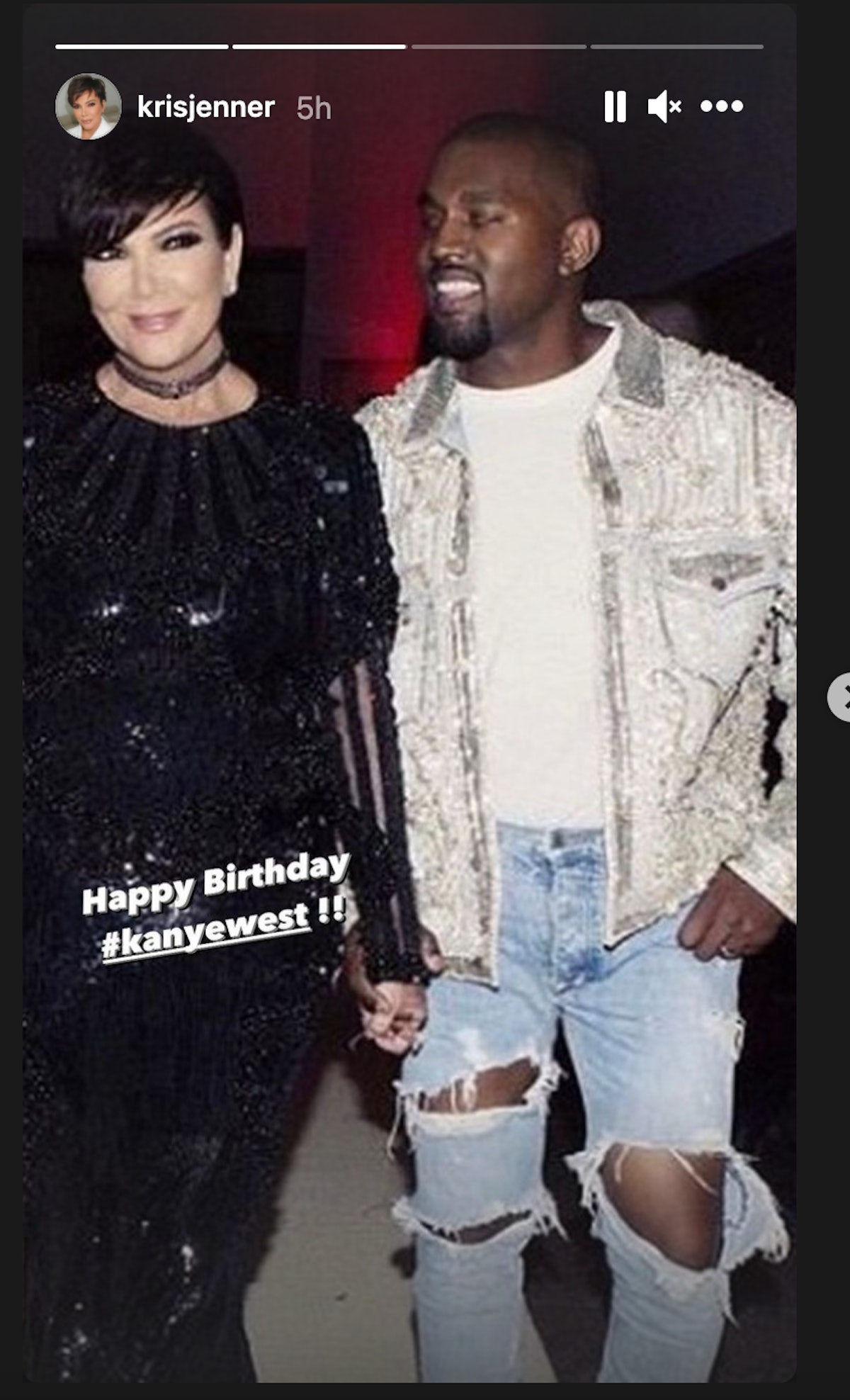 Kris Jenner wishes Kanye West a happy 44th birthday.
