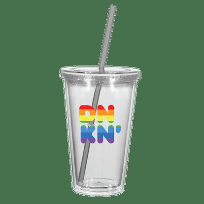 Dunkin's 2021 Pride merch includes a rainbow tumbler.