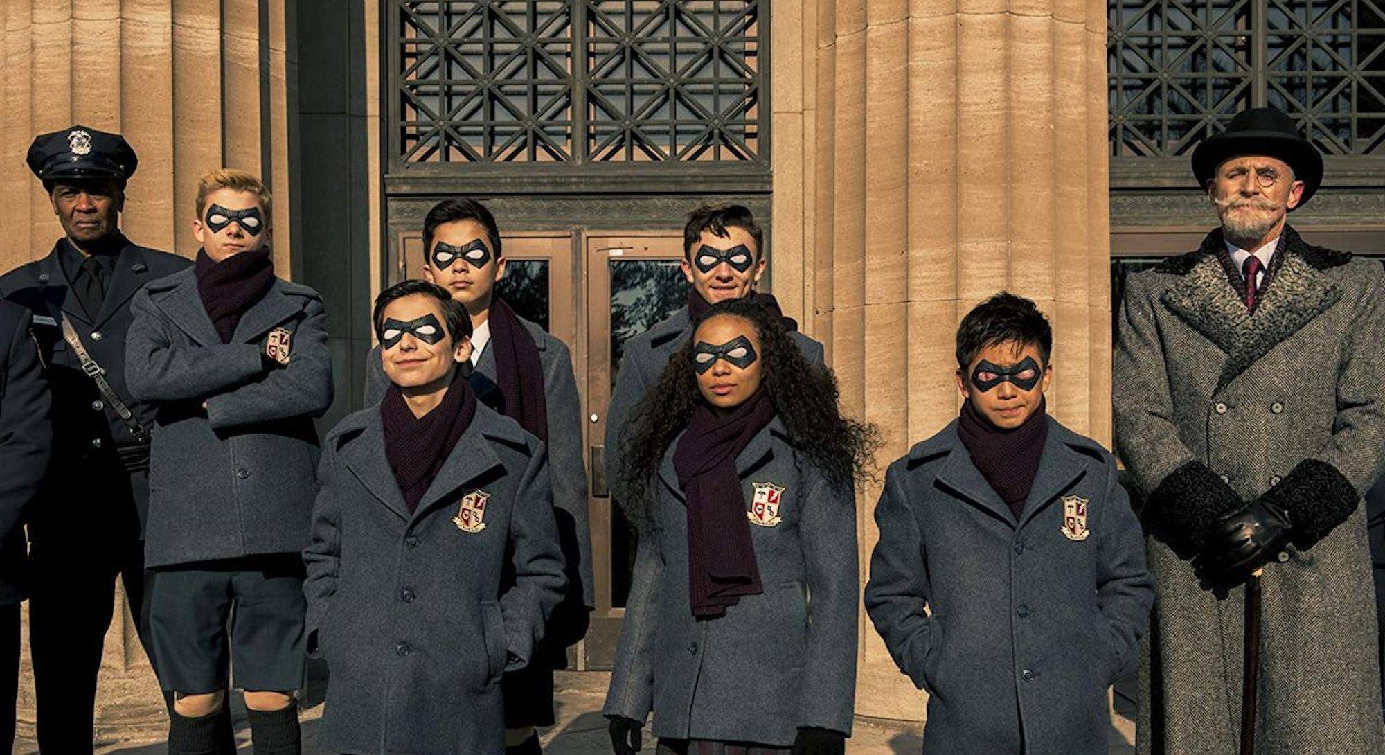 umbrella academy cast in school uniforms