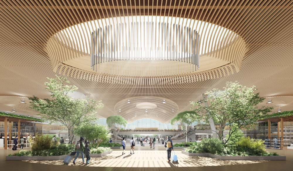 Futuristic looking green eco-friendly airport with biophilic design