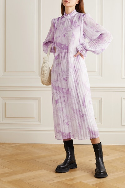 Printed Plissé-Georgette Midi Dress