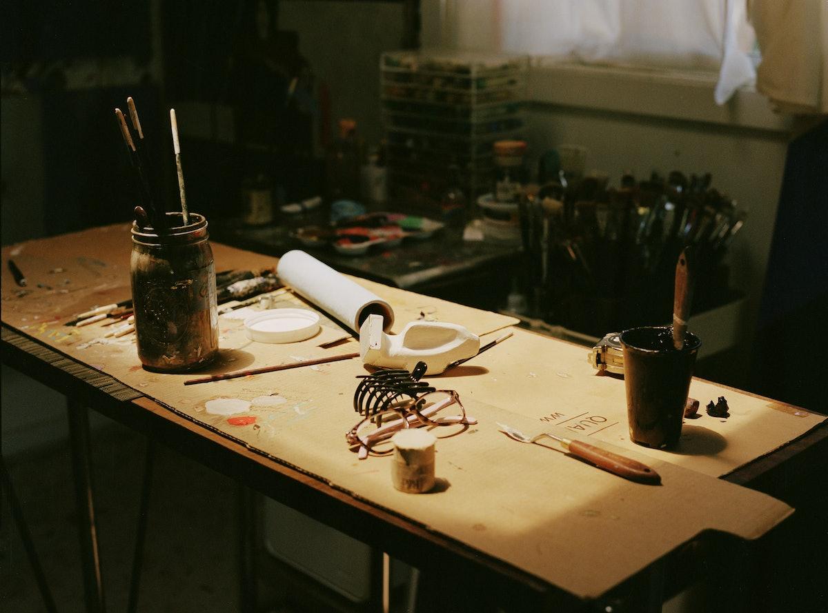 tabletop inside Clare Roja's studio