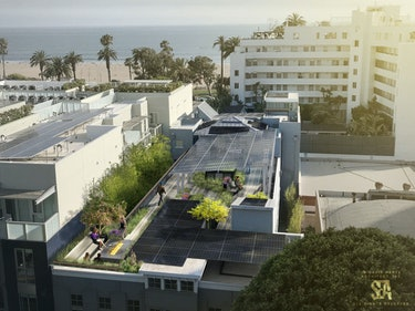 Futuristic building with rooftop solar garden