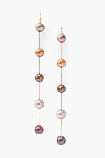Gold Pearl Mix Duster Earrings