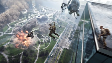 Battlefield 2042 Operators jumping from a building