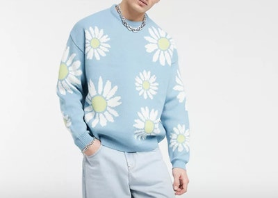 Knit Oversized Sweater With Floral Design