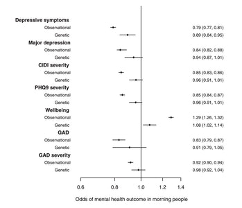 graph odds of mental health outcomes morningness