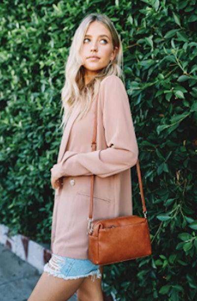 FashionPuzzle Triple Zip Small Crossbody Bag
