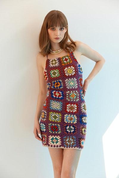 Remade Plum Crochet Dress