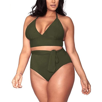 Sovoyontee Plus-Size High-Waisted Two Piece Swimsuit