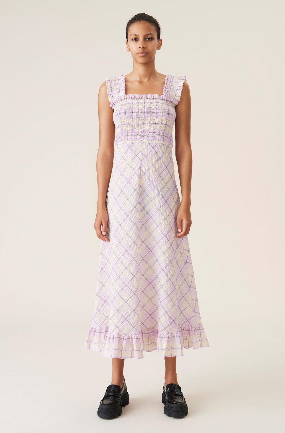 Seersucker Check Maxi Dress