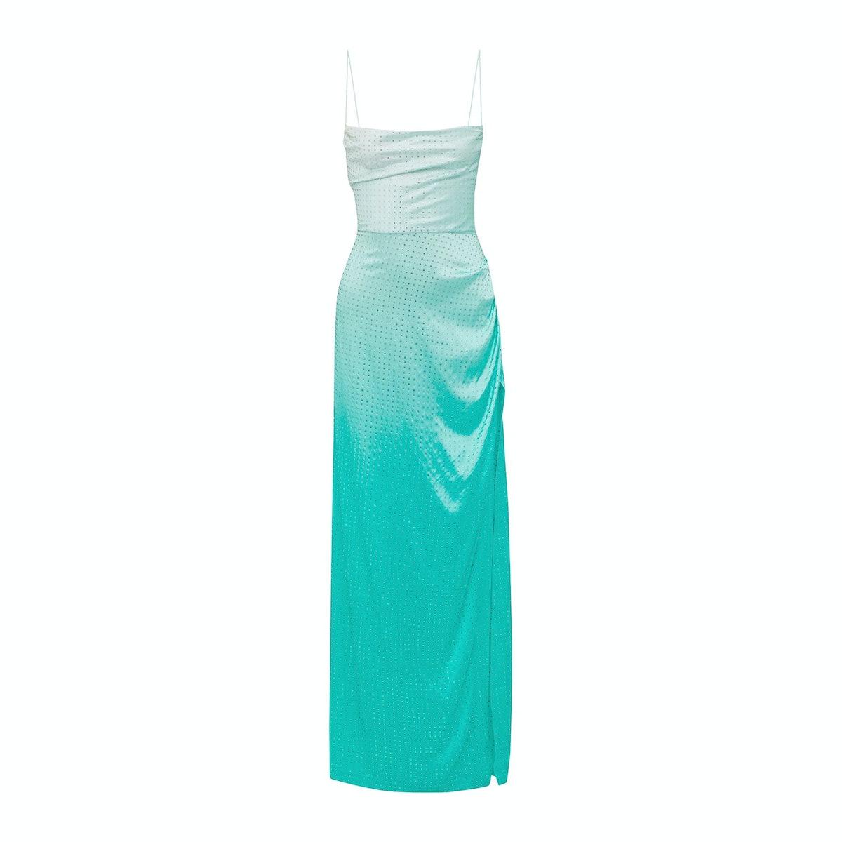 Retrofête Marlene Crystal-Embellished Dégradé Silk-Blend Satin Maxi Dress