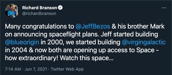 Many congratulations to @JeffBezos & his brother Mark on announcing spaceflight plans. Jeff started ...