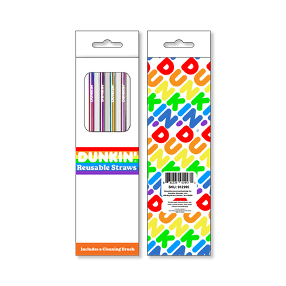 Dunkin's Pride 2021 merch includes rainbow reusable straws.