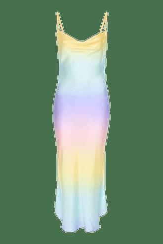 Aubrey Pastel Ombre Silk Satin Slip Dress