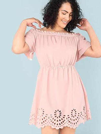 Romwe Scallop Hem Dress