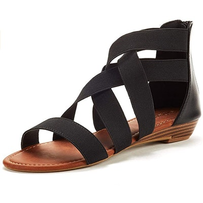 DREAM PAIRS Elastic Strap Low Wedge Sandals