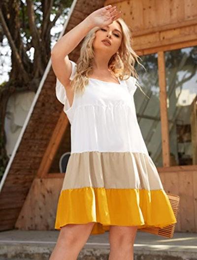 Romwe Ruffle Trim Swing Dress