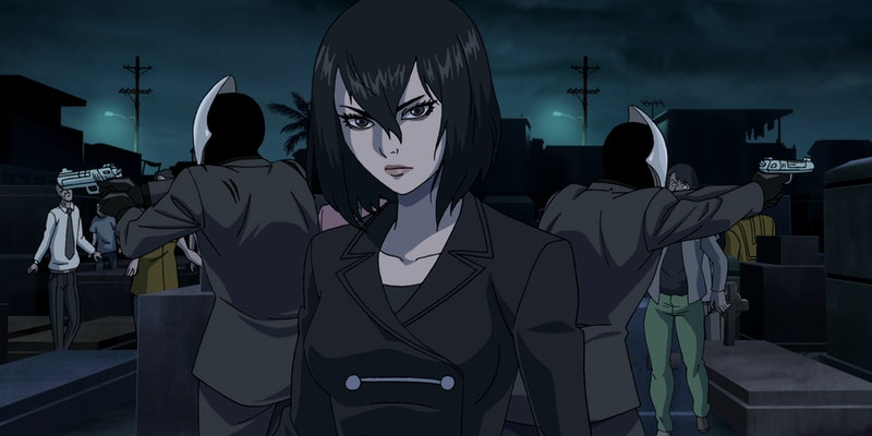 A still of Alexandra Trese, who's voiced by Shay Mitchell, from the Netflix anime series Trese via the Netflix press site