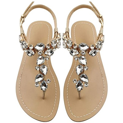 Mayou Rhinestone Flat Sandals