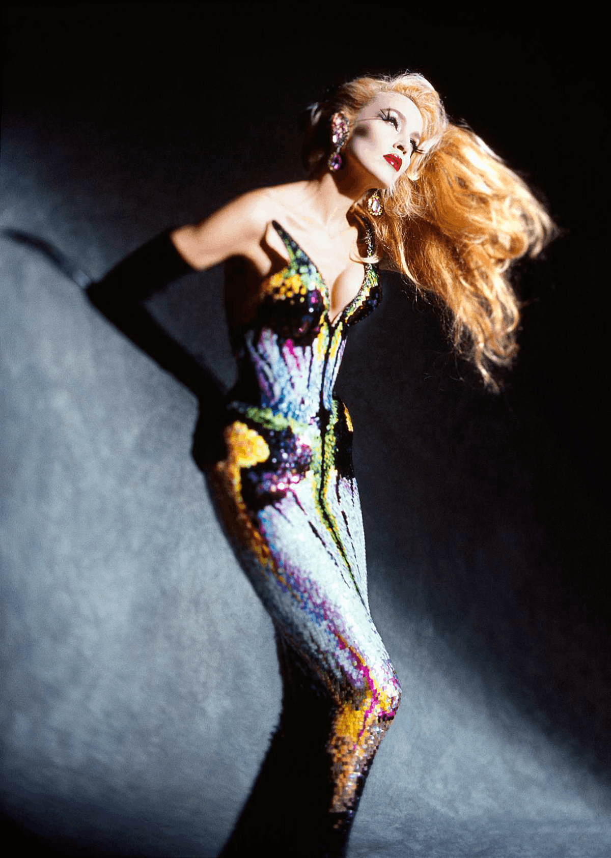 Jerry Hall wearing a look from Thierry Mugler's Les Insectes collection